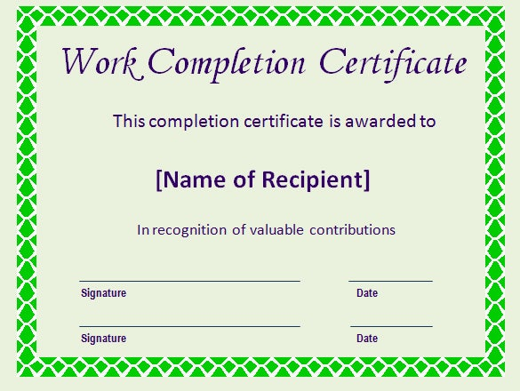 print certificate of completion