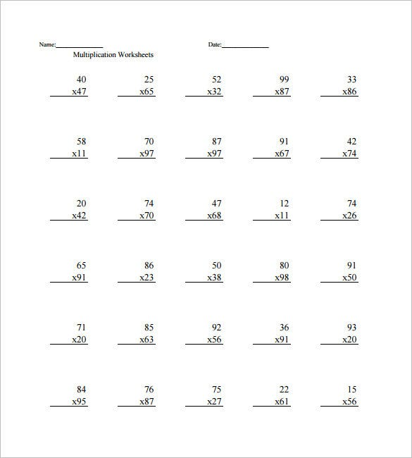 Printable Times Table Worksheets