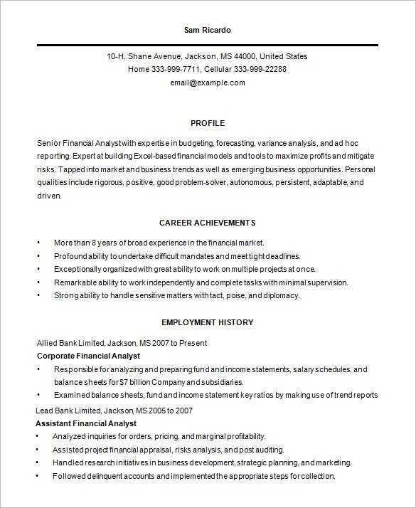 professional business analyst resume template - Resume Templates Business