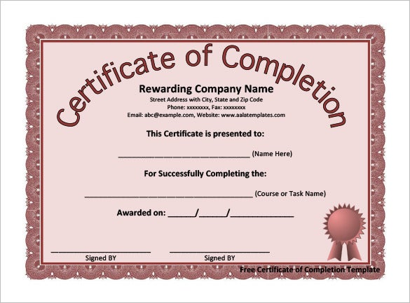 Completion Certificate Template   Free Word Pdf Psd Eps