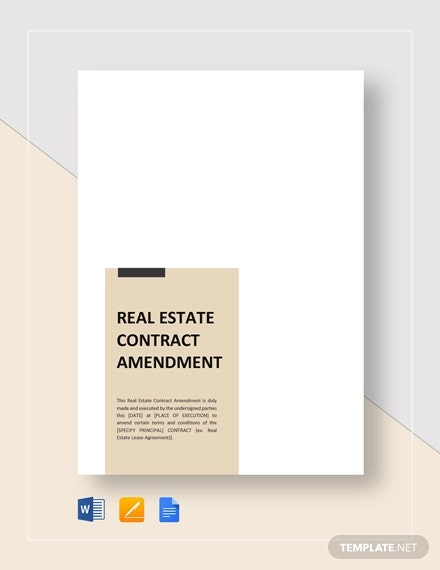 real estate amendment contract