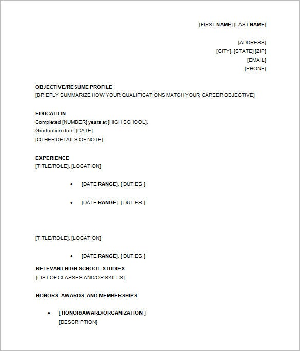 10 high school resume templates pdf doc free