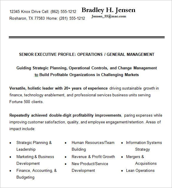 Senior Executive Resume Example. Free Download