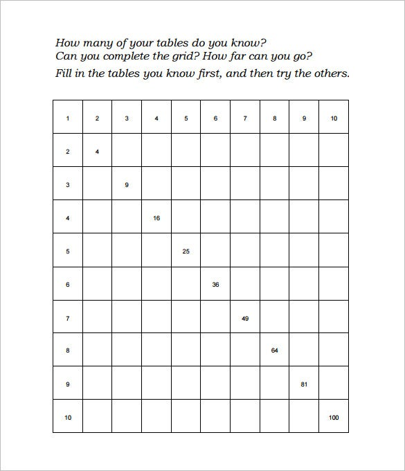 times tables worksheets ks2