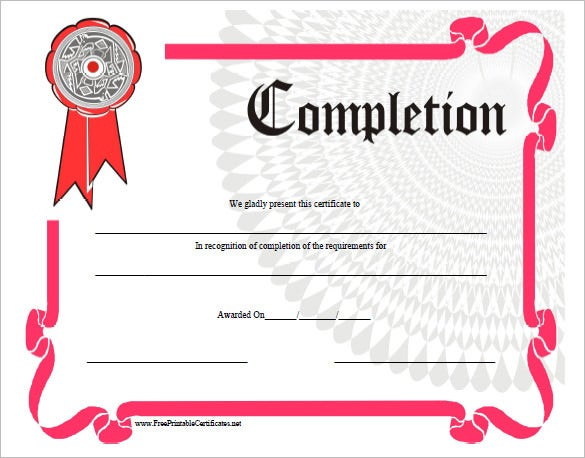 completion certificate templates � 40 free word pdf psd