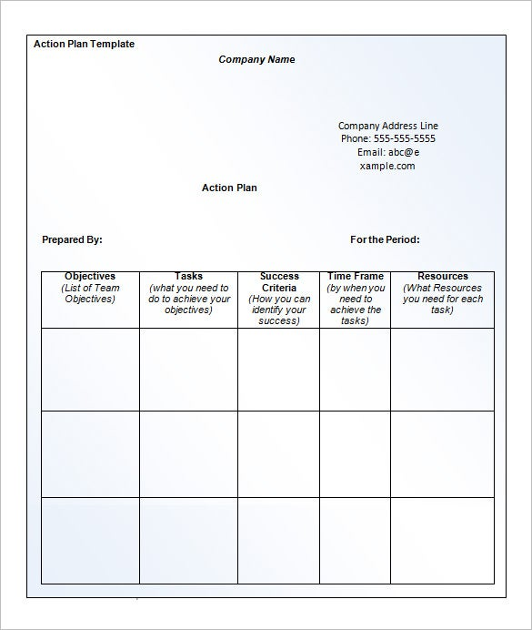 word business action plan template free download