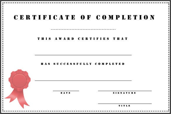 Completion Certificate Template 25 Free Word PDF PSD EPS – Certificate of Completion Sample