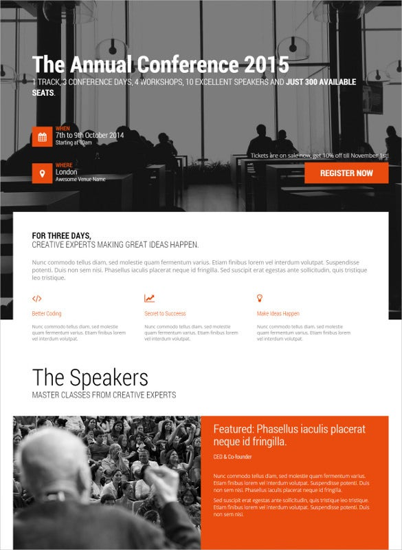 conference event html5 landing page template