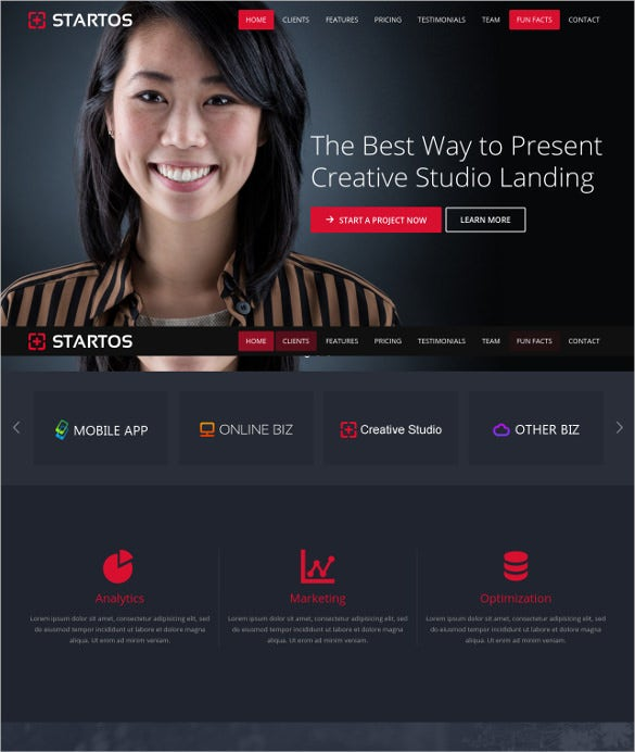 responsive html5 landing page parallax effect template1