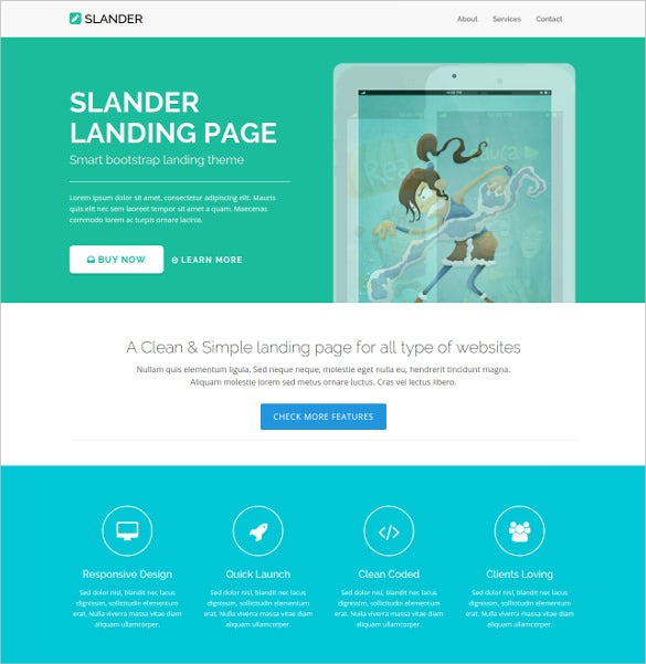 bootstrap html5 landing page with massive look template