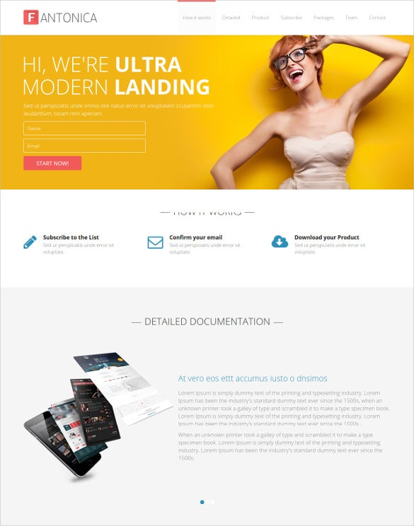 html5 landing page for your product template