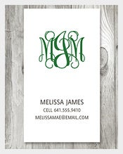 Curly-Monogram-Calling-Card