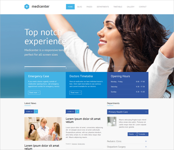 responsive html template for medical center