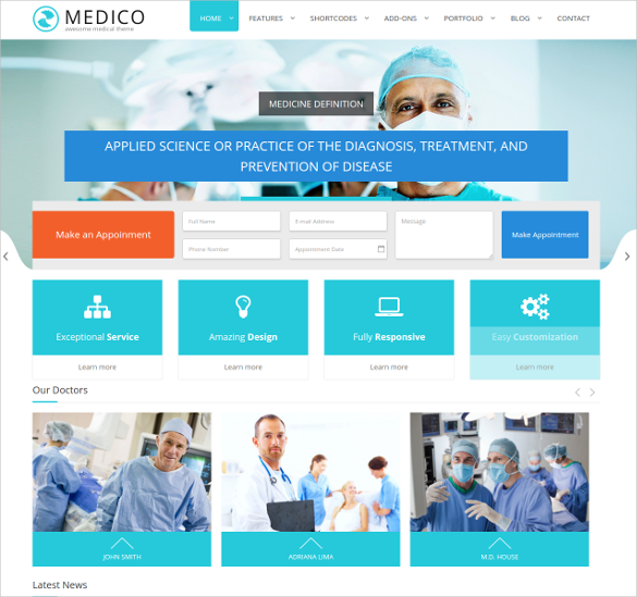 fully customizable medical health html5 template