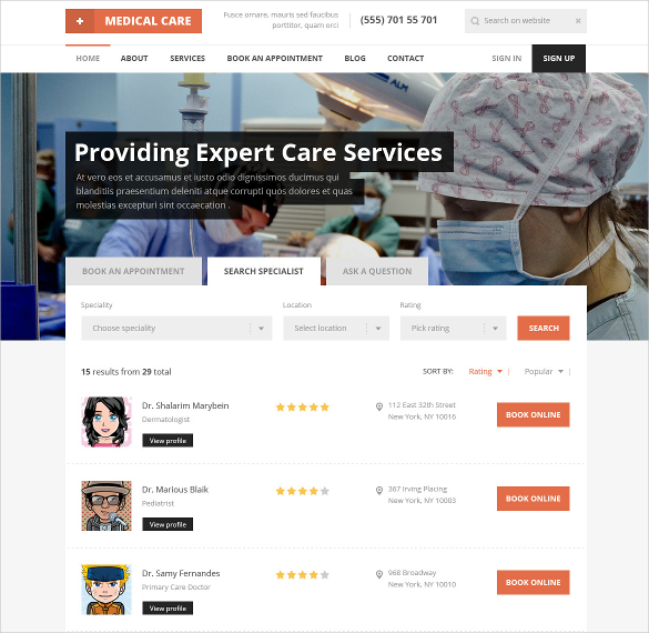 responsive html5 template for medical care1