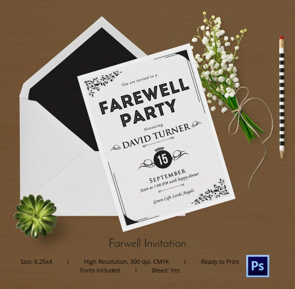 Farewell Card Template 25 Free Printable Word PDF PSD EPS – Free Going Away Party Invitation Templates