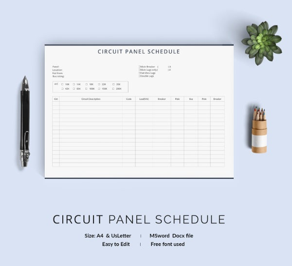 Panel Schedule Template