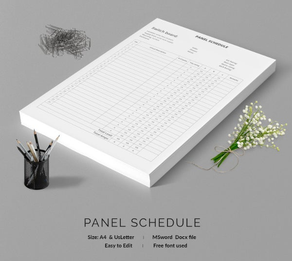 19  panel schedule templates