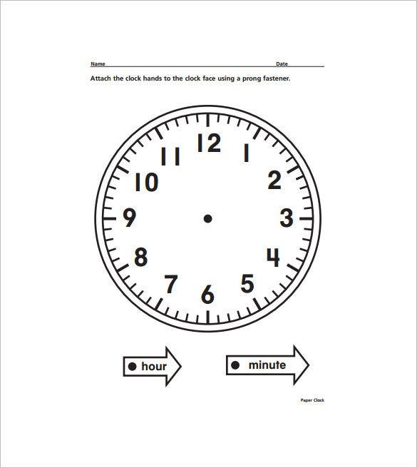 photograph relating to Printable Clock Face With Hands named 17+ Printable Clock Templates - PDF, Document Cost-free Quality