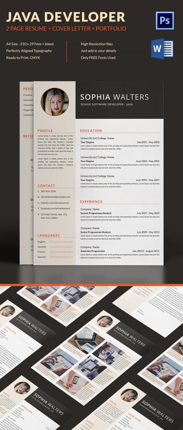 2 Page Java Developer Resume + Cover Letter + Portfolio Template
