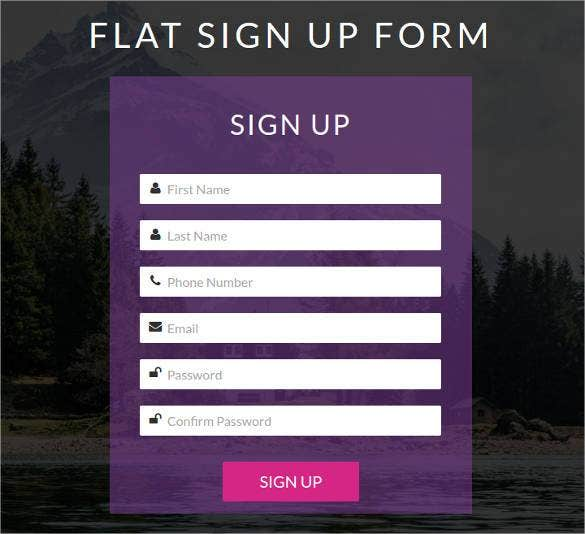 Flat Look Html5 Css3 Signup Form Template Free