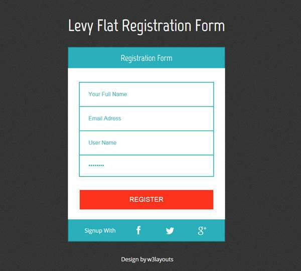 Flat Design Html5 Levy Registration Form Template