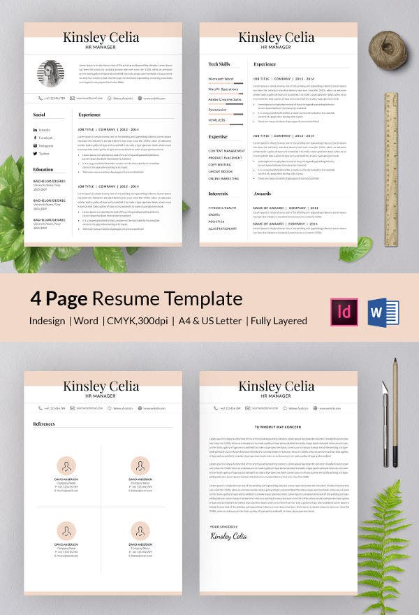 simple 4 page manager resume in word