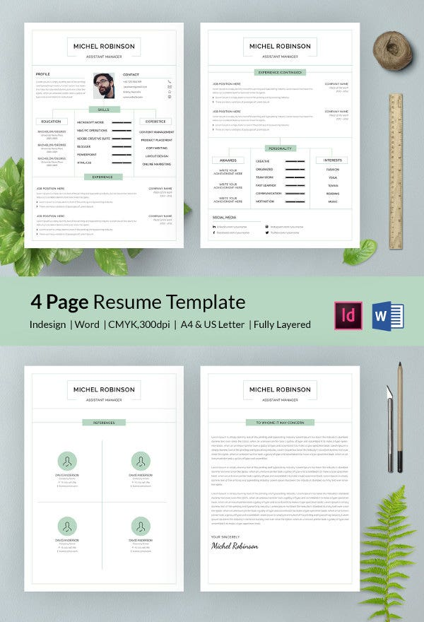 creative 4 page manager resume in word - Free Resume Template For Microsoft Word