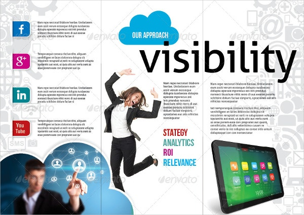 social media mobile marketing trifold brochure