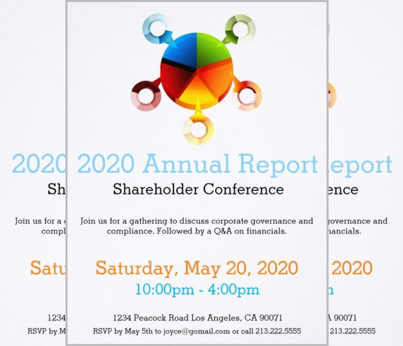 pie chart annual report meeting invitation for everyone