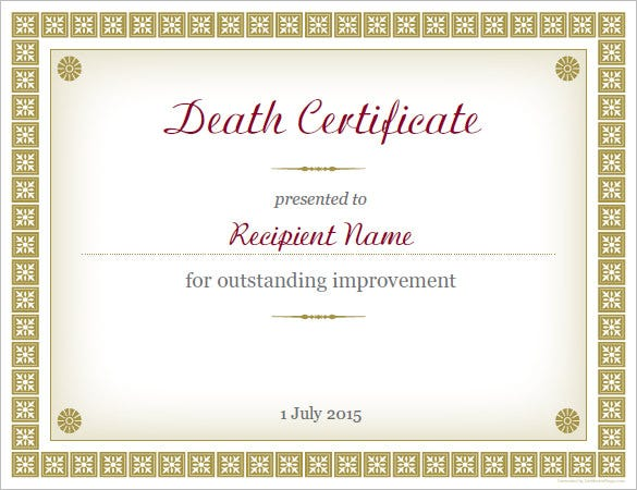 Sample Death Certificate Template 11 Free Word PDF Documents