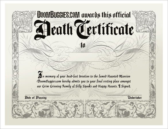 Sample death certificate templates 12 free word pdf documents duplicate death certificate template creator download yelopaper Choice Image
