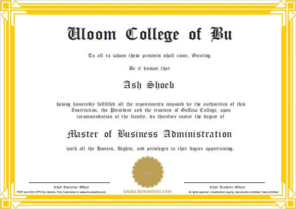Sample School Certificate Business Certificate Of Completion