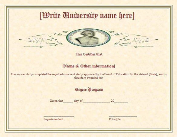 duplicate degree course completion certificate template free