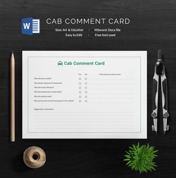 Simple Cab Comment Card