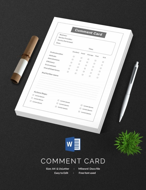 Editable Comment Card Template