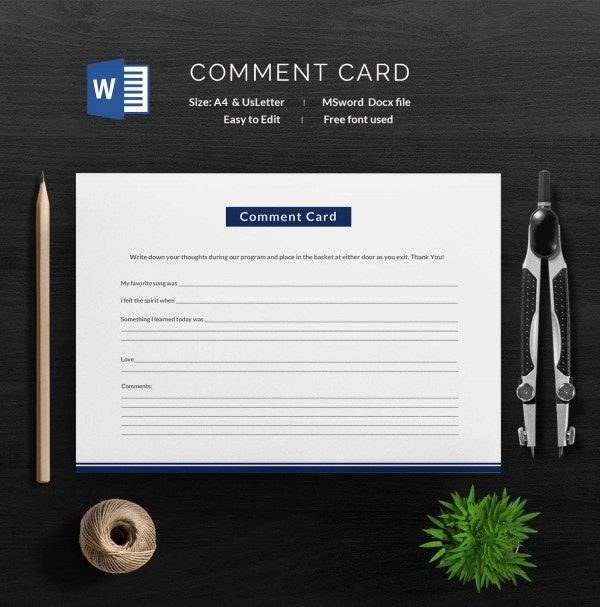 Printable Comment Card Template