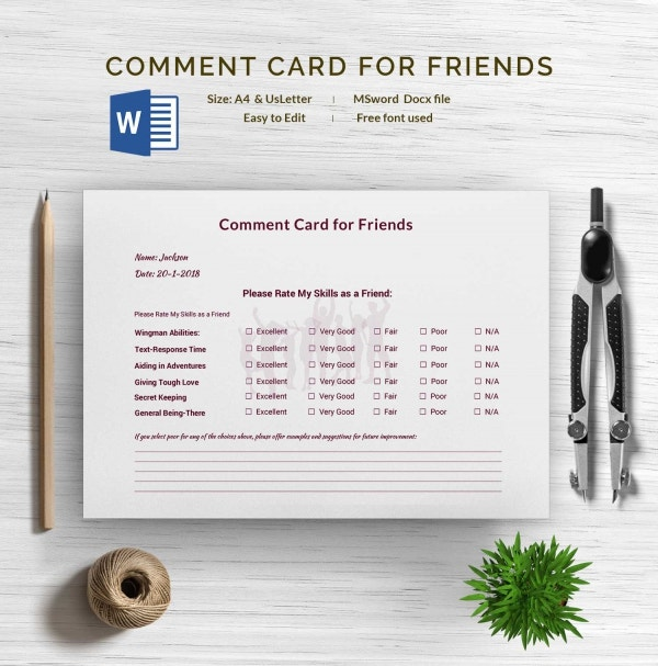 Comment Card for Friends