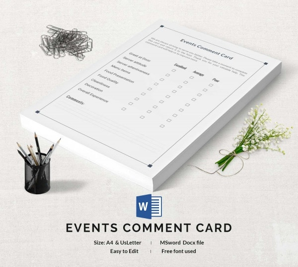 Events Comment Card