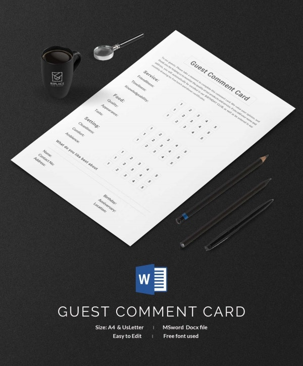 Guest Comment Card Template