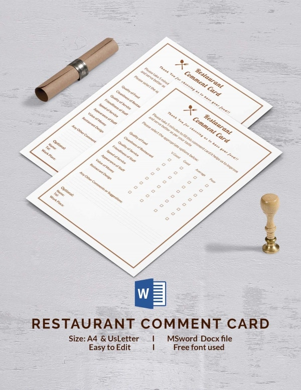 Restaurant Comment Card