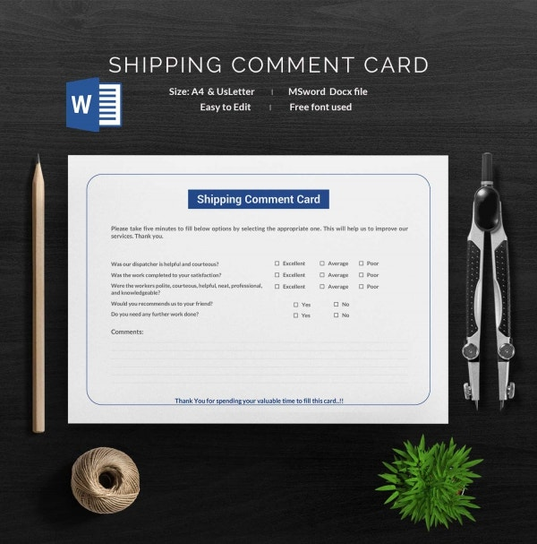 Shipping Comment Card