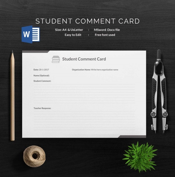 Student Comment Card