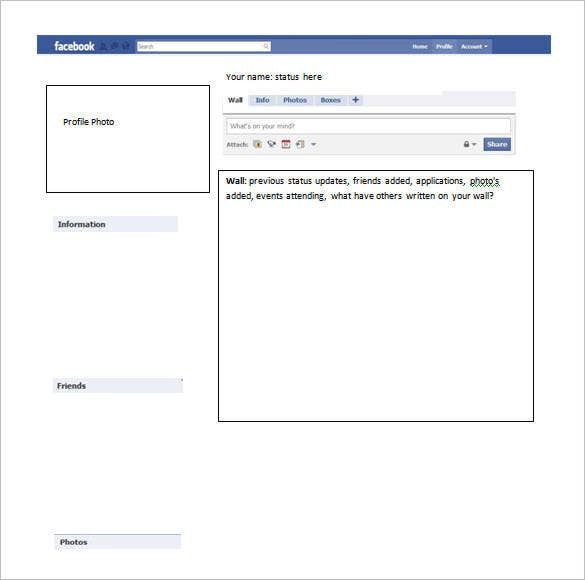 sample facebook info page template for word