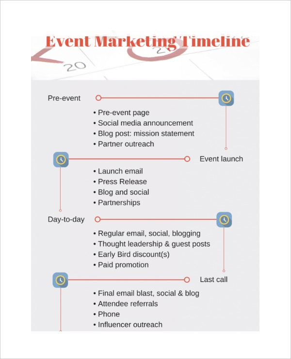 Charming Event Marketing Timeline Sample Template