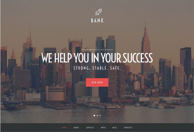 2 step installation wordpress theme for bank 788x536