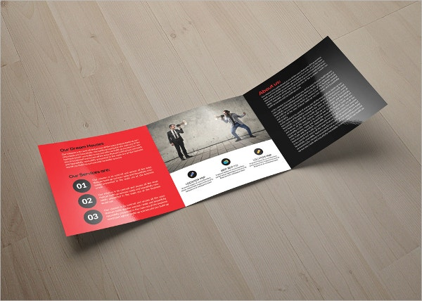 example business marketing square trifold brochure template