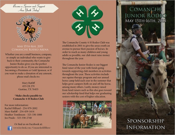 example rodeo sponsorship marketing brochure template