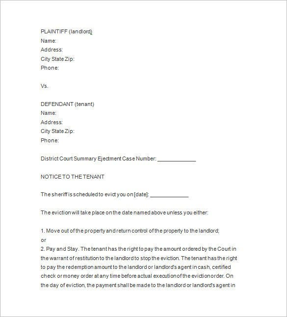 eviction notice issued by a court template1