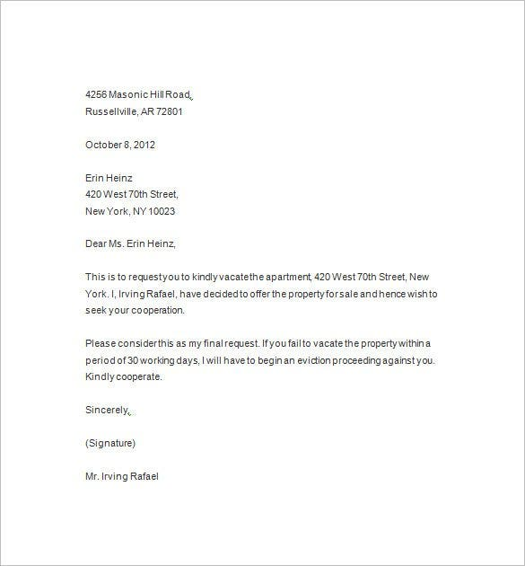 Letter Of Eviction Notice Template  Landlord Eviction Notice Sample